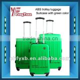 2015 China alibaba New colorful ABS elastic paint suitcase with green color/ airport luggage trolley/new luggage set