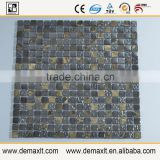 Made in china cheap mosaic patterns crystal glass mix marble mosaic tile for bar wall