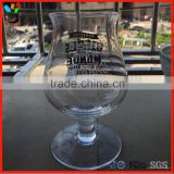 Custom Hand- Blown Soda-Lime Glass Material Belly Short Stem Tulip Beer Cup