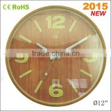 12 inch luminous wooden promotional neon wall clock (12W51NA-Y4)