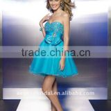Style XZ-pd1227 2012 strapless sweetheart empire waist and beaded blue chiffon cocktail dresses short
