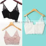 Women Lace Crochet Deep V Neck Spaghetti Strap Camisole Tank Tops Bralet 3 Color