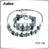 Charm Ladies Green Beads National Style Stainless Steel Necklace And Bracelet Jewelry Sets