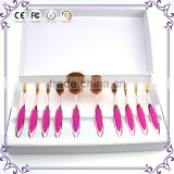 Synthetic hair private label foundation mermaid rose gold 10pcs pink oval makeup brush set