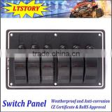Excellent 6 Gang 12V 24V Aluminum LED Rocker Switch Panel With Circuit Breakers