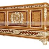 Luxury Gold Painted Decorative Side Cabinet, Dining Room Wooden Sideboard, Antique Carved Wooden Buffet