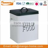 White color black lid steel bird food container