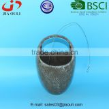 BSCI Audit Factory handle shape ceramic hanging basket planter, plant pot stand with hanger