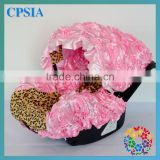 2015 Fancy 3D Rosette Pink Flower &Leopard Print Infant Car Accessory Funny Baby Car Seat Covers Fabric Seat Protector