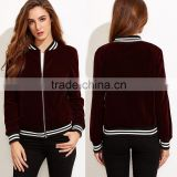 Jacket Women Winter Burgundy Stand Collar Bomber Jacket Slim Fit Velvet Blazer With Striped Trim Detail