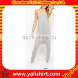 Fashion casual comfortable grey cheap button front two pockets cotton/spandex suspender custom made jumpsuit