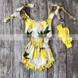 new arrival woven summer baby girls kids wear style lemon yellow ruffles romper tutu cotton with matching accessories bow