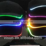 factory direct summer black color red green blue lighted flash baseball cap for Dance Glow In The Dark Hip Hop