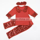 Hot Sales Sequin Toddler Girls Clothing Sets With Headband Fall 2016