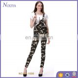 women lady skinny denim jean trouser for girl camo overalls