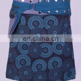 Lovely Crystal Blue Shade Dot Print Gypsy Wrap Around Skirt With Belt HHCS 111 J