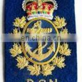 Royal Canadian Navy Gold Bullion Blazer Badge, military badge, fashion military badge