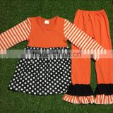 Halloween Boutique Outfits Polka Dot Girls 2016 Fall Clothes Sets Girls Halloween cotton Set
