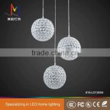 Best selling luxury led round crystal ball hanging/ globe pendant lamp/chandeliers Made-In-China