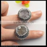 LFD-0014R ~ Wholesale Crystal Rhinestone Beads Paved Round Drusy Agate Rings Rhodium Plated Adjustable Size Woman Ring Image