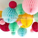 tissue paper handmade hanging honeycomb ball decoration for christmas