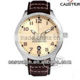 Good sale top quality fashion stainless steel case leather strap business sport quartz watch for man