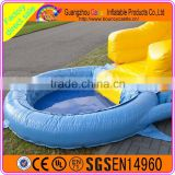 Whale design inflatable water slide with mini pool backyard