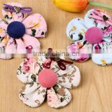 Fancy Mini Fabric Printed Flower Alligator Hair Clips For Kids,Handmade Flower With Grosgrain Ribbon Clip