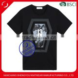 Wholesale printed cotton custom mens t-shirt with side zip