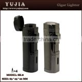 wholesales 4 flame cigar torch lighter with punch Cigar accessories durable metal cigarette lighter,