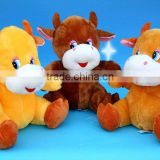 3-colour plush musical cattle for christmas