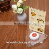 innovative clear restaurant menu holder,table menu holder,acrylic menu stand with call button table stand manufacturer