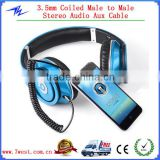 New 3.5mm Car Jack Male to Male Record Spring Stereo Audio AUX Cable for PC iPod MP3 CAR