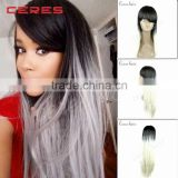long length ombre grey synthetic hair wig two tone color grey hair cosplay wig