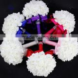 White Crystal Roses Pearl Bridal Bridesmaid Wedding Bouquet Artificial Silk Flowers