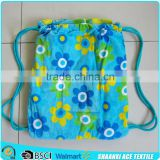 Wholesale cotton velour blue flower printed alibaba supplier beach towel bag with drawstring