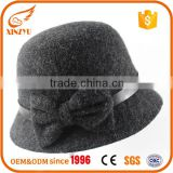 Custom stylish wool felt hats grey fedora hat women style with bowknot                                                                                                         Supplier's Choice