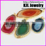 KJL-A0418gold plated natural agate slice stone pendant,mix color quartz geode gem stone pendant jewelry,charm druzy stone