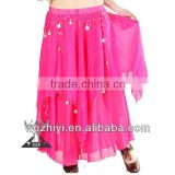 Belly Dance Skirt, Hot Rose Sexy Arab Cheap Chiffon Skirt of Belly Dance Wear,Belly Dancing Performance Skirt QZ007