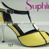Suphini Black and Yellow Elegant France Tango Ballroom Dance Shoes