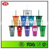 FDA Pass 450 ml double wall plastic ice cream cup with straw