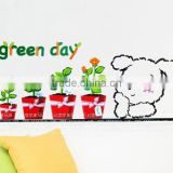 English letter Green Day Cute Pet Dog Flower background decoration Living Room Decoration Removable PVC Wall Sticker DM57-0048