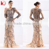 Marvelous Handmade Beaded Round Neck Long Sleeve Long Prom Evening Gown Dress