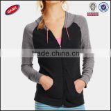 2014 China wholesales ladies two tone black gym zip up hoodie with twin pocket and drawstrip hood