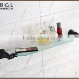 Traditional China Supplier Zinc Alloy ORB Plated Wall Mounted Bathroom Accessories Glass Shelf