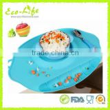 New Design Food Grade Silicone Baby Dinning Table Mat with Sucker Bowl and Food Pocket