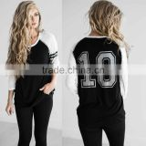 Plain Raglan Baseball T Shirt Women Crew Neck 3/4 Raglan Sleeves Varsity Tee Dri Fit Striped Baseball Jersey