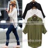 3 Colors Plus Size 2015 New Fashion Casual Women Clothing Ladies Chiffon Lapel Long Batwing Sleeve Shirt Top Blouse