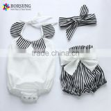 Black and White Stripe , Baby Toddler Summer Floral Ruffle Neck Cloth With Bow Knot Shorts Headband Bikini Swimwear for Baby Gir