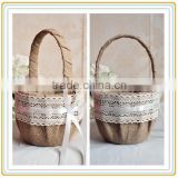 2015 Wholesale handmade decorate flower basket,lace flower girl basket with handle,flower girl basket and ring pillow